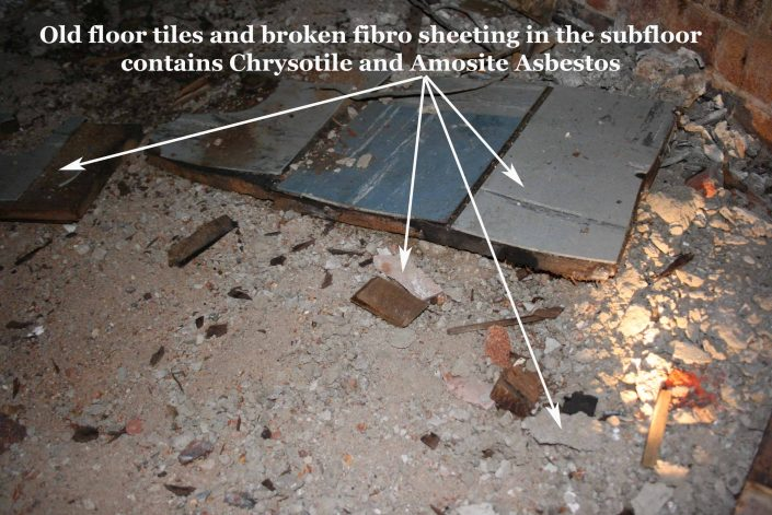 Floor Tiles Broken Fibro Sheeting Contains ACM